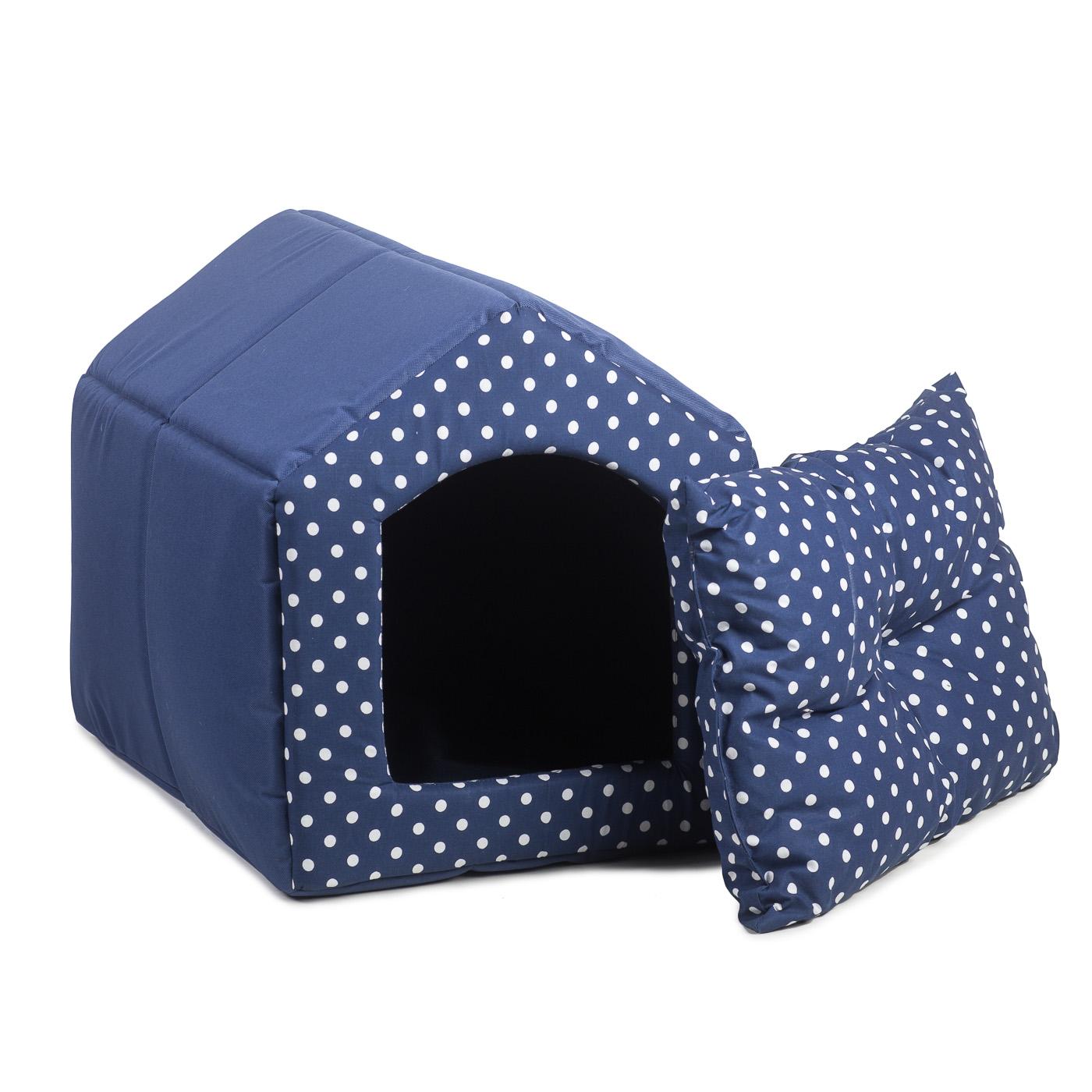 Bouda pro psy 2v1, no. 30, modrá s puntíky, vel.1