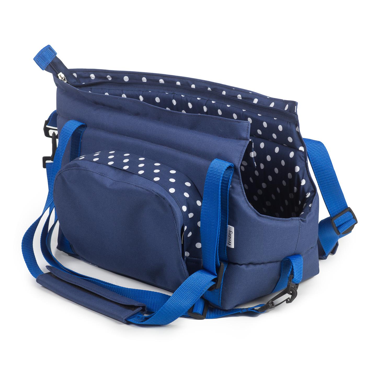 Cestovní taška pro psy, no. 30, modrá s puntíky - vel. 1
