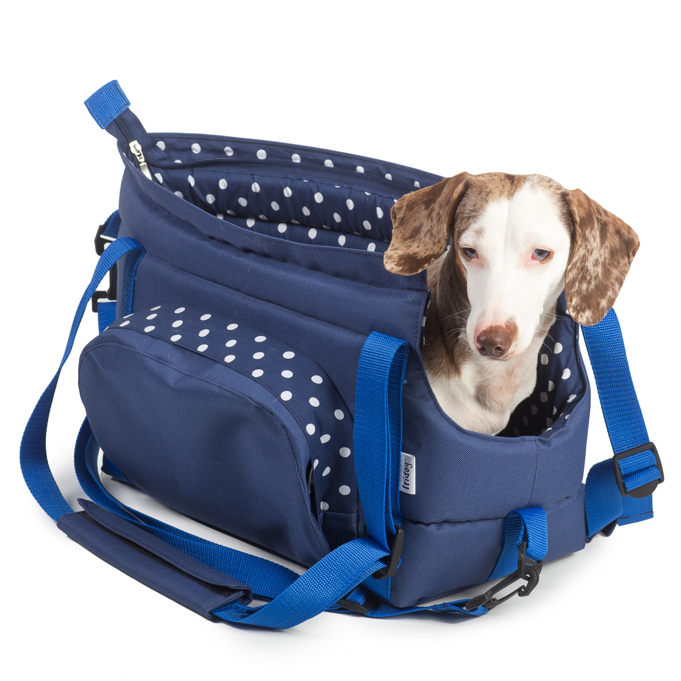 Cestovní taška pro psy, no. 30, modrá s puntíky - vel .3