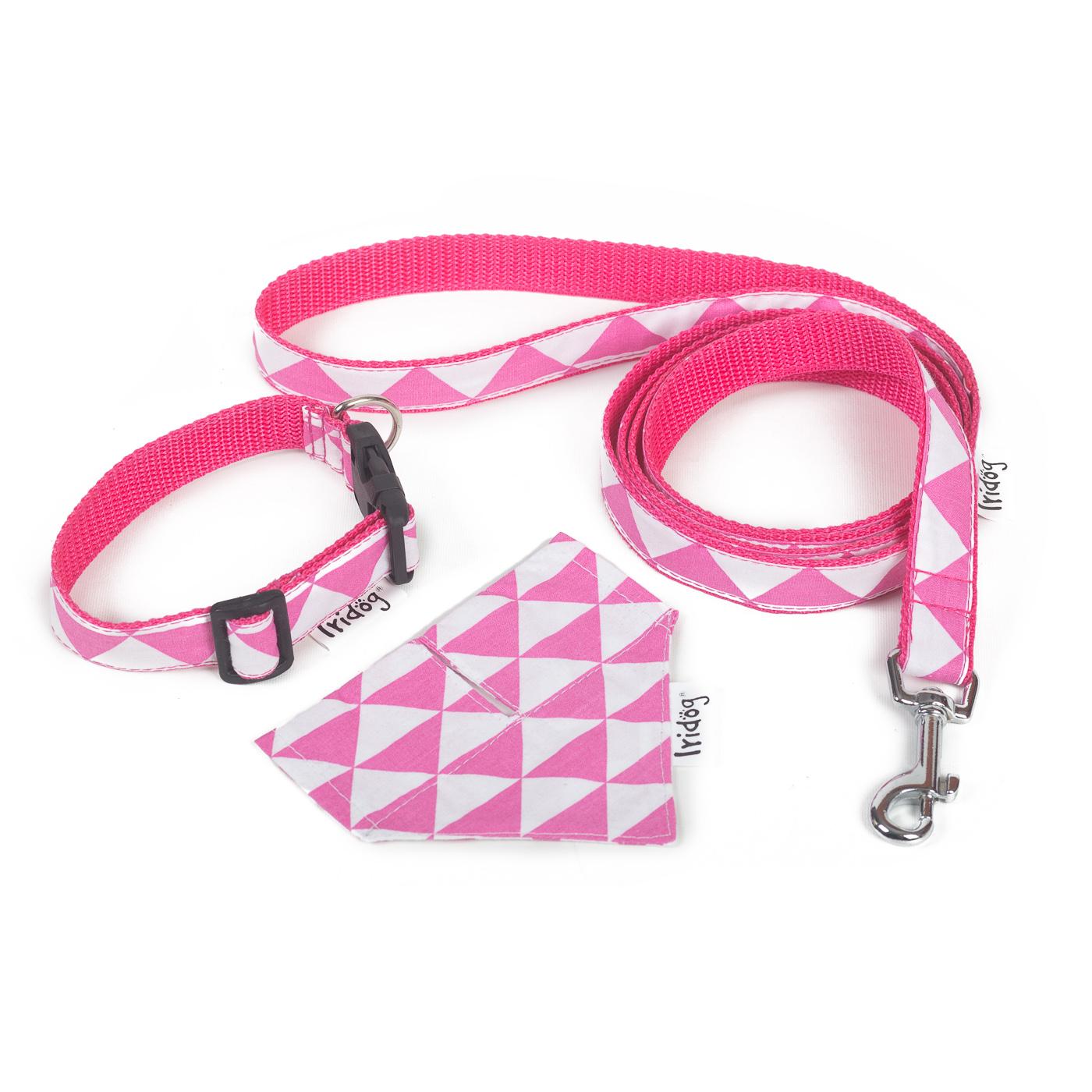 Set obojek, vodítko a šáteček, no. 40, růžový triangl