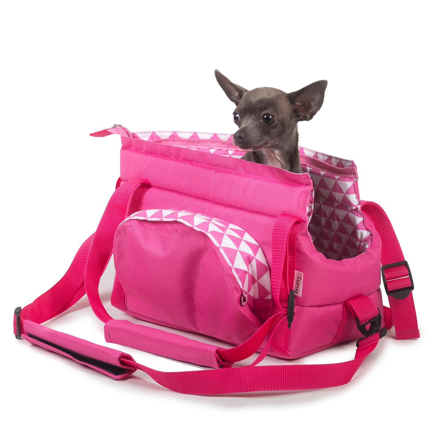 Cestovní taška pro psy, no. 40, růžový triangl č.1