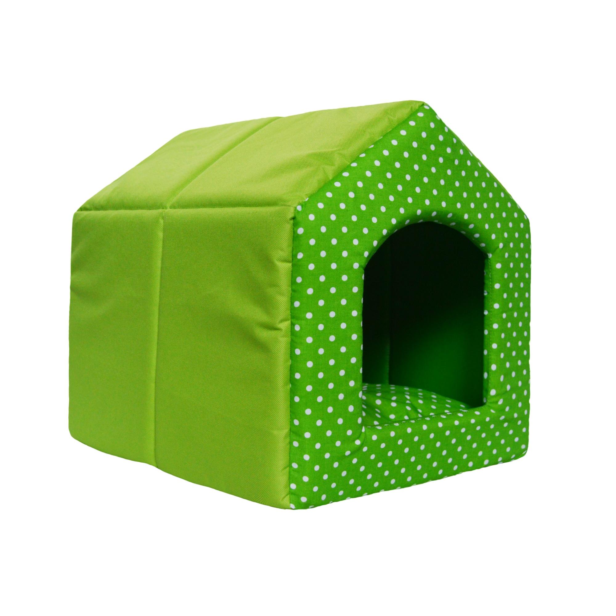 Bouda pro psy 2v1, no. 13, zelená s puntíky, vel1