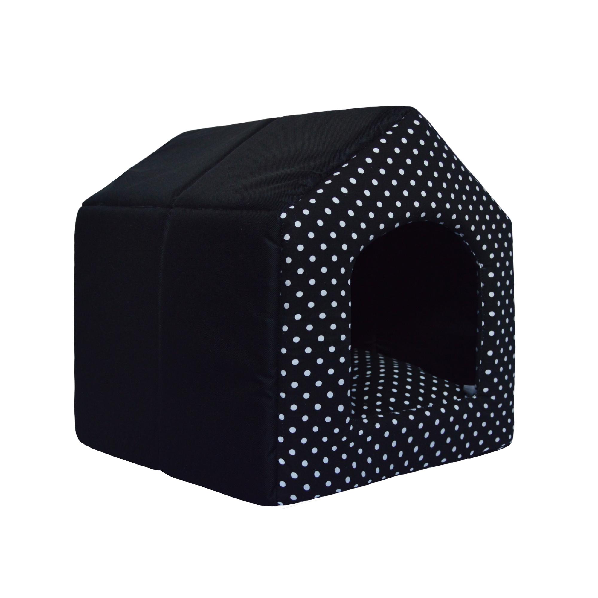 Bouda pro psy, 2v1, no. 8, černá s puntíky, vel. 1