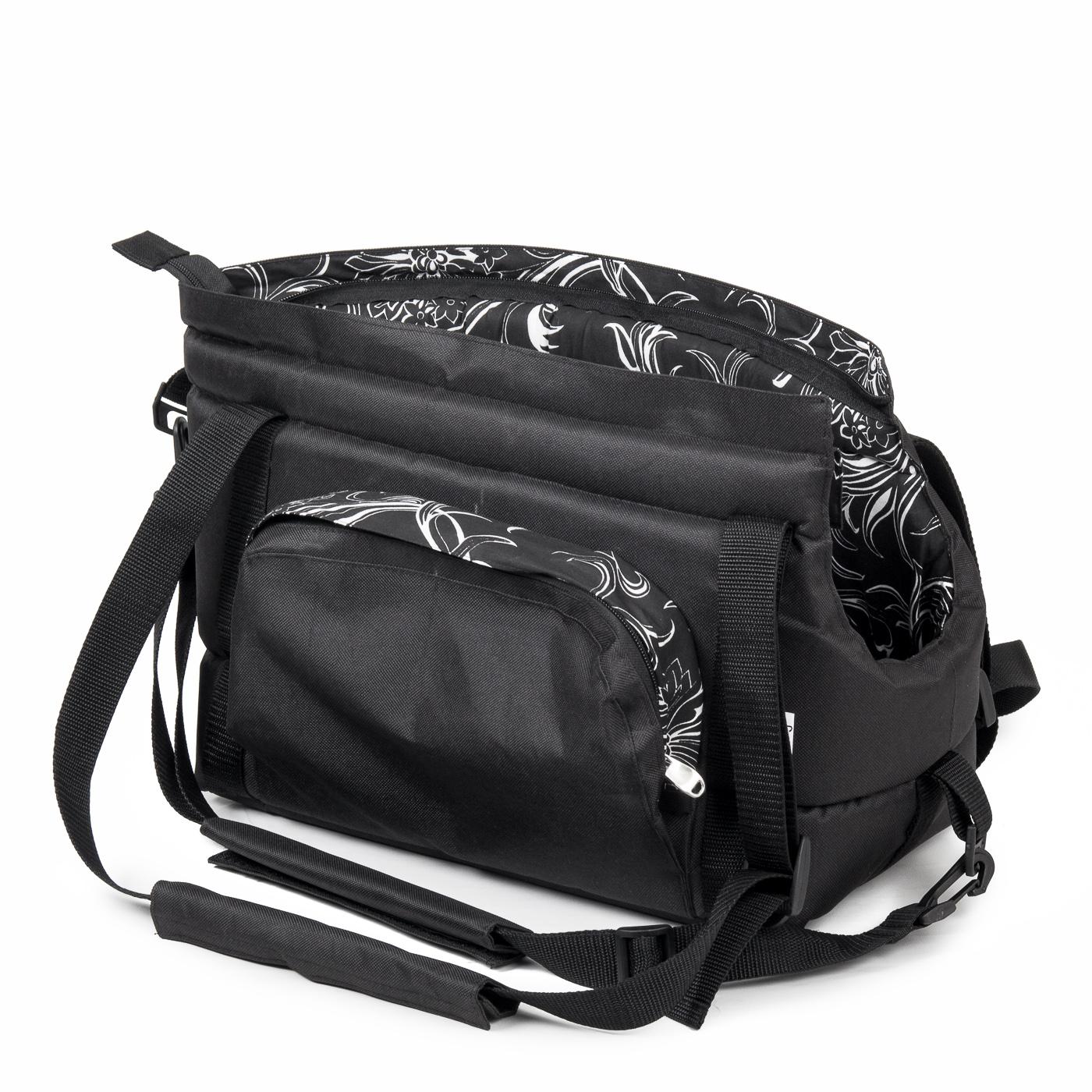 Cestovní taška pro psy, no.39, černá s květinkami, č.1