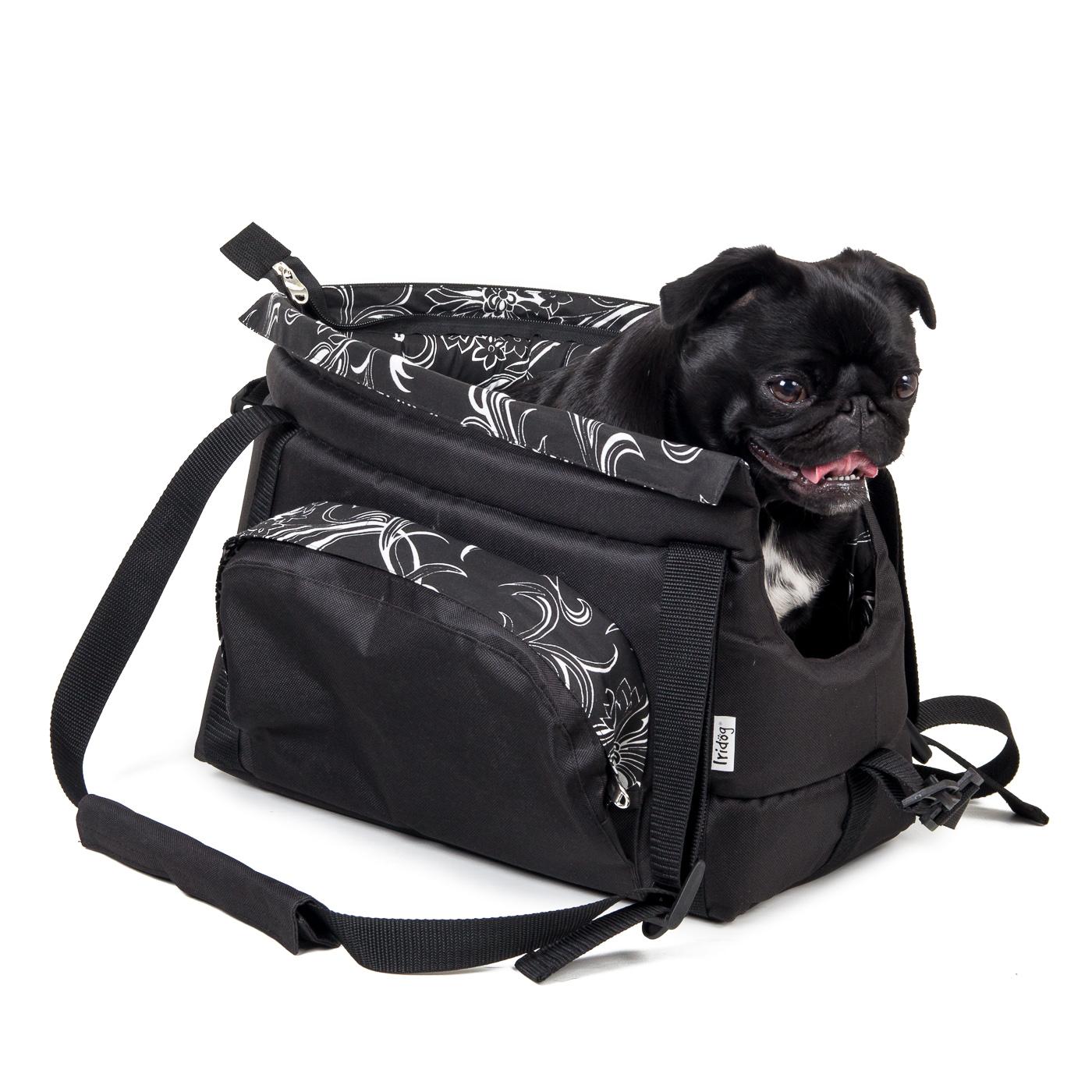 Cestovní taška pro psy, no.39, černá s květinkami, č.2