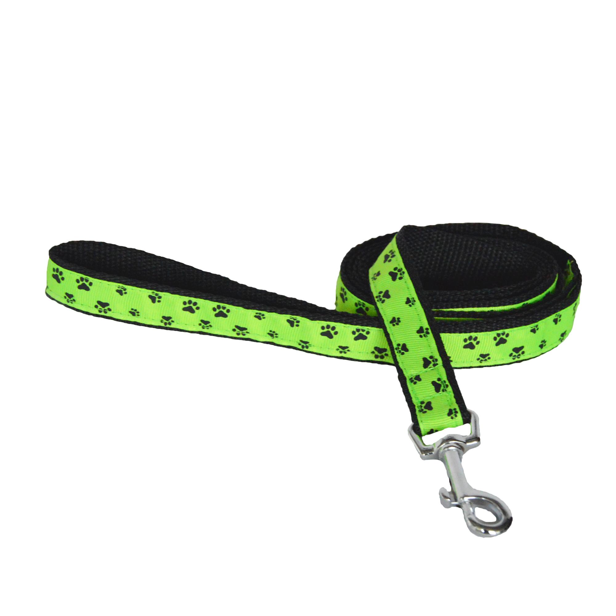 Vodítko pro psy, no. 36, zelené s pacičkami