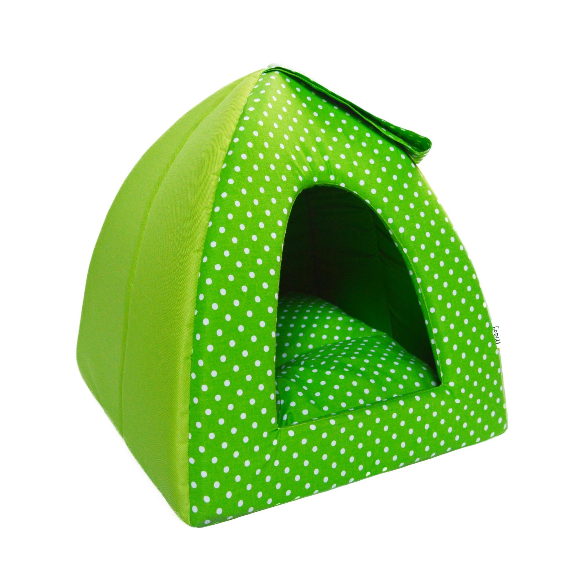 Kukaň IGLOO no. 9, zelená s puntíky, 32 x 32 x 32 cm