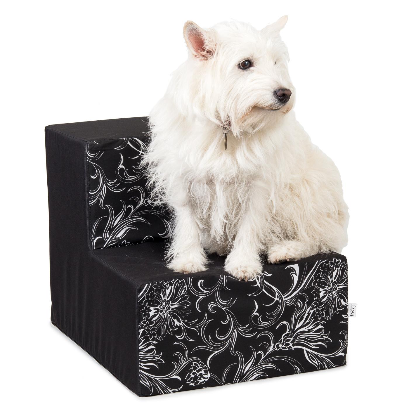 Schody pro psy, no. 39, černé květinky, 4 velké